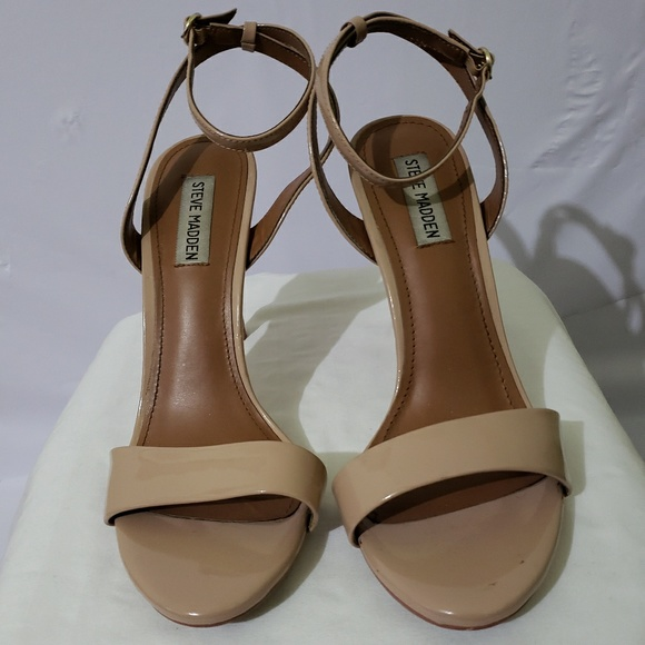 Steve Madden Shoes - Patent Sandal Heels in Nude (9.5)